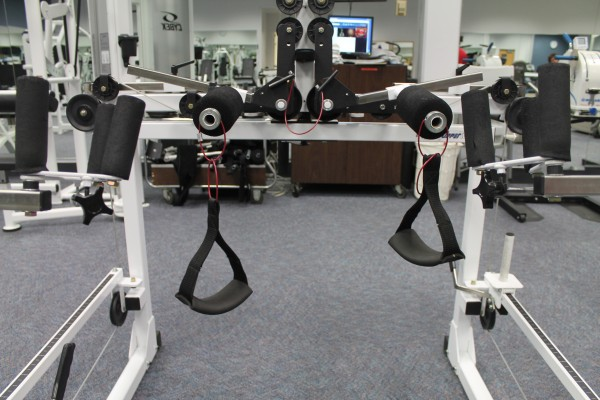 The gym inside the Brown Center has adapted exercise equipment for wheelchair users.  Photo by Pilar de Haro/El Nuevo Sol