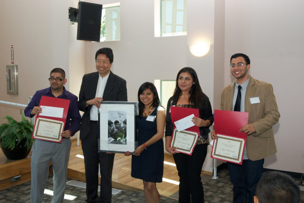 Scholarship recipients with keynote speaker, Kent Wong, and CSUN Activist Award recipient, Lizbeth Mateo. Photo: Tom & Ethel Bradley Center.