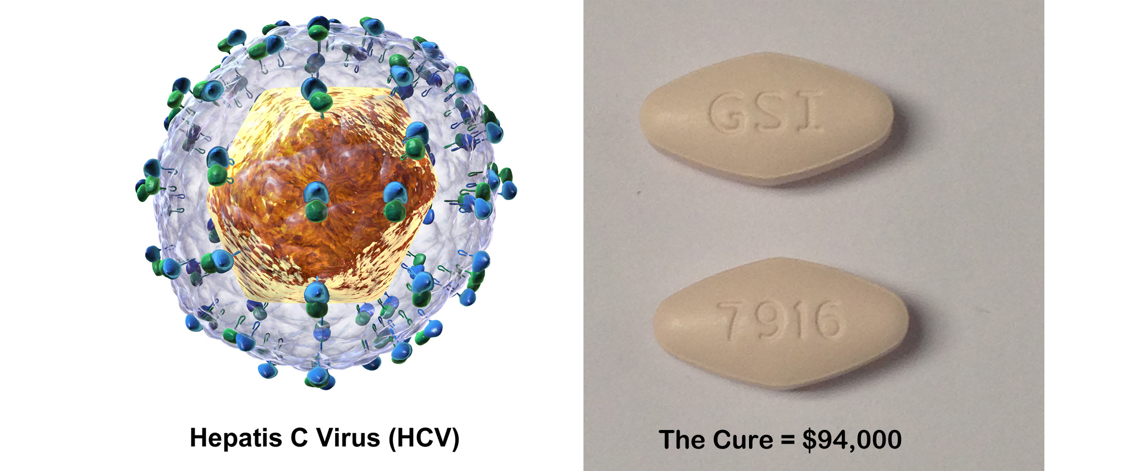 HCV image by Bruce Blaus (Own work) [CC BY-SA 4.0], via Wikimedia Commons; The Cure image by Richard Kontas